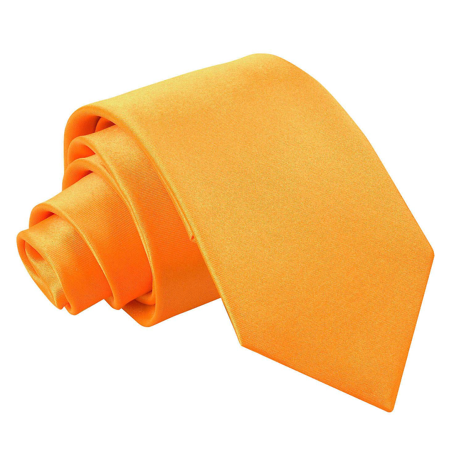 Plain Fluorescent Orange Satin Slim Tie