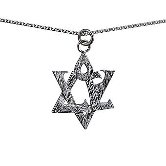 Silver 31x27mm Star of David with the word Love Pendant on a curb Chain 18 inches
