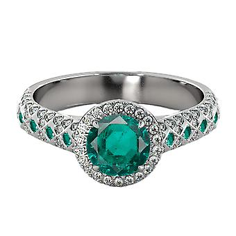 2.50 ctw Emerald Ring with Diamonds 14K White Gold Vintage Micro Pave Halo