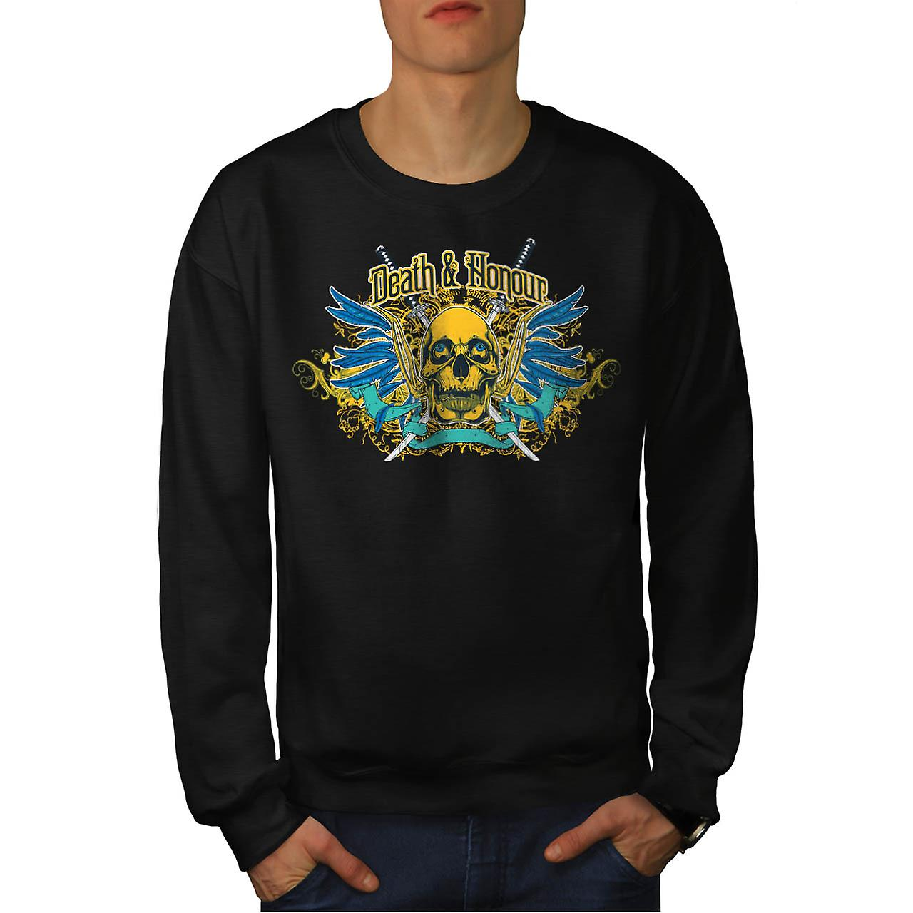Death And Honour Fear Skull Head Men Black Sweatshirt | Wellcoda