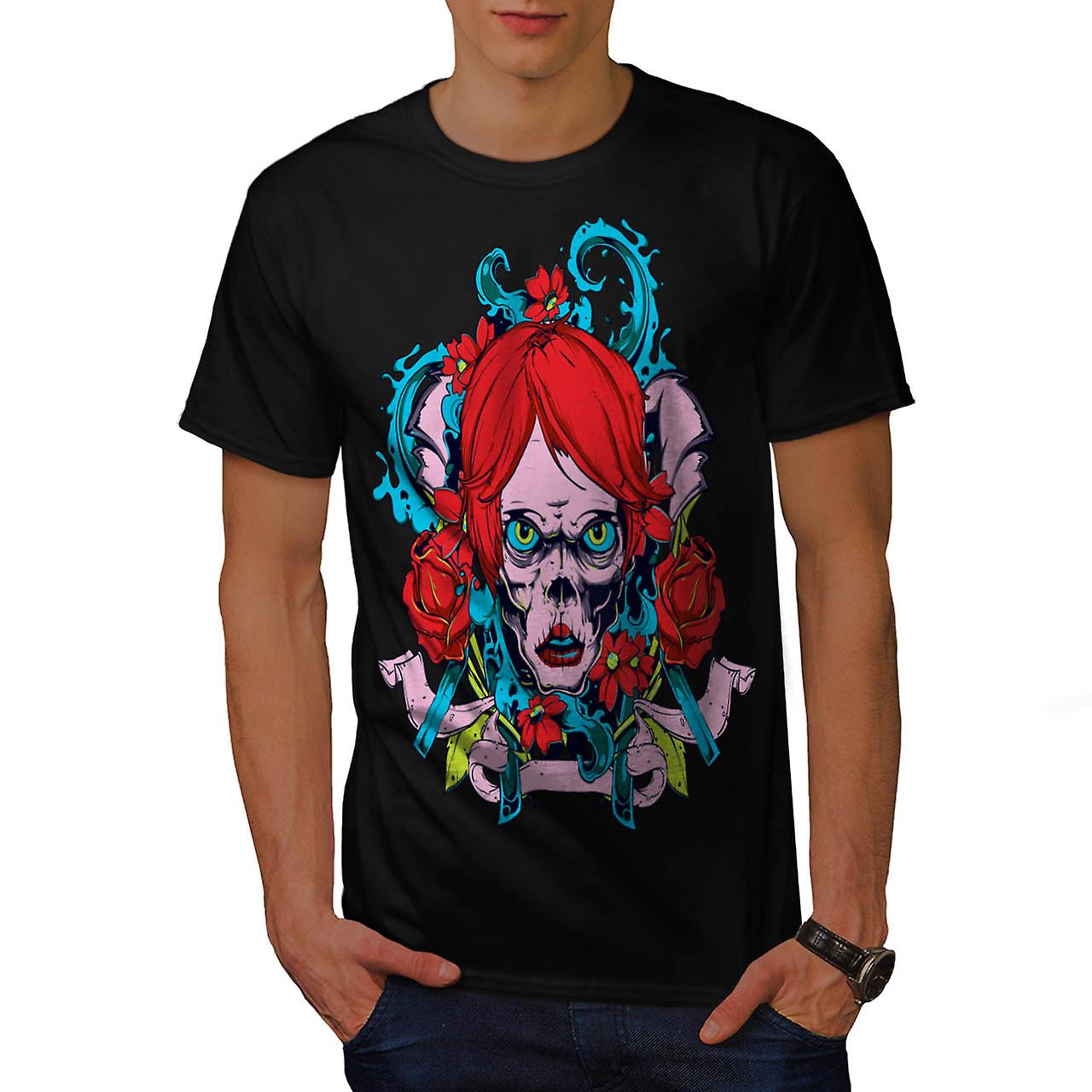 Sugar Rose Flower Skull Men Black T-shirt | Wellcoda