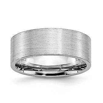 Cobalt Chromium Flat Band Engravable Satin 8mm Band Ring - Ring Size: 7 to 13