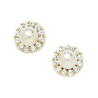 14k Yellow Gold White 5x5mm Freshwater Cultured Pearl and CZ Fancy Screwback Earrings