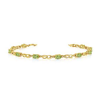 10K Yellow Gold Oval Peridot and Diamond Link Bracelet
