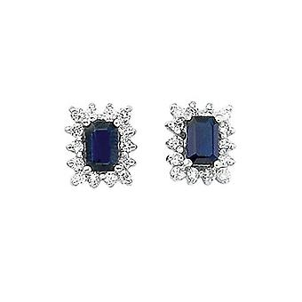 14k White Gold Diamond and Octagonal Sapphire Earring