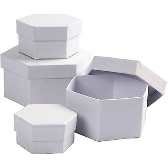 4 White Paper Mache Hexagonal Stacking Boxes - Largest 11.5x7cm