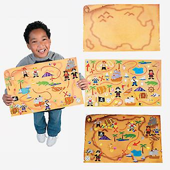 12 Giant Pirate Treasure Map Sticker Scenes for Kids Crafts & Parties
