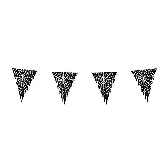 Pennant chain 10 m black with Spider Halloween decoration