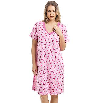 Camille Pink Knee Length Short Sleeve Heart Print Nightdress