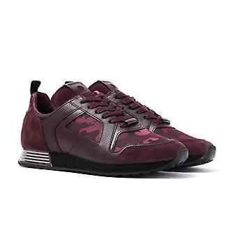 Cruyff Burgundy Fade Camo Leather Lusso Trainers