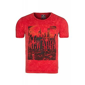 RUSTY NEAL NYC shirt mannen T-Shirt rood New York skyline