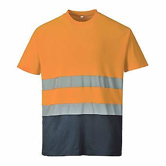Portwest - Two Tone Cotton Comfort Kurzarm reflektierende t-Shirt mit Rundhalsausschnitt