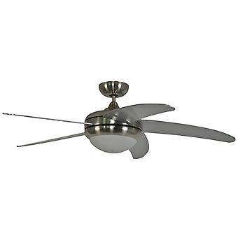 Ceiling fan Makkura Chrome brushed silver blades including wall control