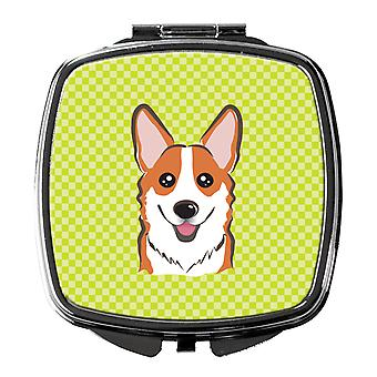 Carolines Treasures  BB1316SCM Checkerboard Lime Green Corgi Compact Mirror