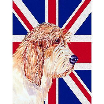 Petit Basset Griffon Vendeen PBGV con inglese Union Jack bandiera britannica bandiera saggiati