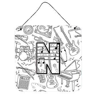 Letra N Nota Musical Letras pared o el puerta colgantes grabados