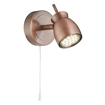 Searchlight 8811CU Single LED Wall Spotlight in Copper