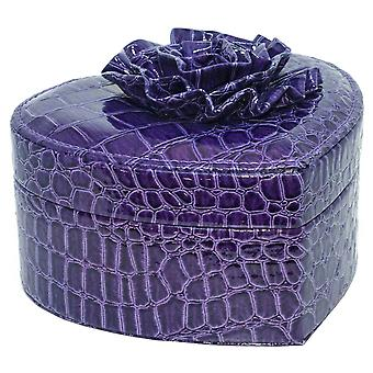 Purple Faux Patent Leather Jewellery Box with Flower Detail