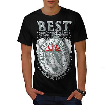 Best Fisherman Vintage Men BlackT-shirt | Wellcoda