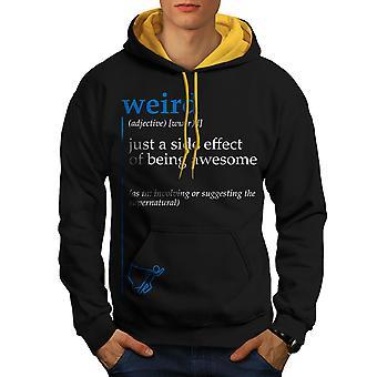 Weird Side Men Black (Gold Hood)Contrast Hoodie | Wellcoda