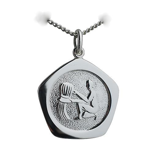 Silver 21mm five sided Aquarius Zodiac Pendant with a curb Chain 20 inches