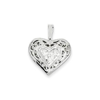 925 Sterling Silver Heart Charm Pendant - 23mm