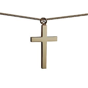 9ct Gold 40x25mm plain solid block Cross with a curb Chain 24 inches