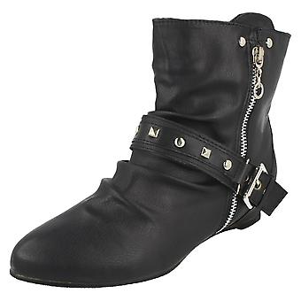 Womens Spot On Heeled Ankle Boots F5533