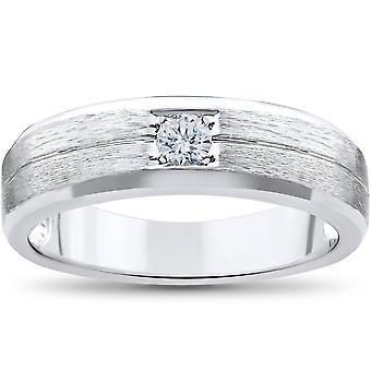 Hombre solitario de oro blanco anillo de bodas de diamante de cepillado