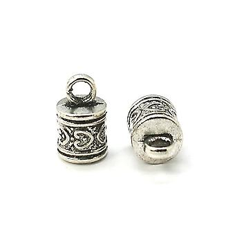 Packet 10 x Antique Silver Metal Alloy Barrel End Caps 10 x 16mm HA11545