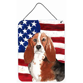 Patriotic USA Basset Hound Wall or Door Hanging Prints