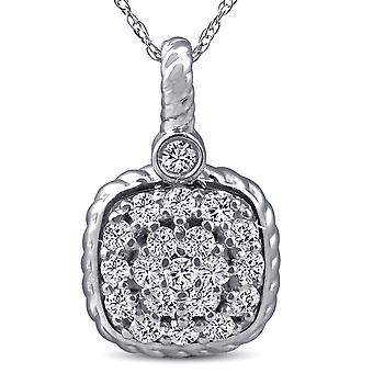 1/2ct Pave Diamond Square Framed Braided Pendant 14k White Gold