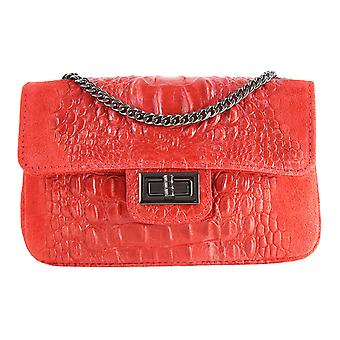 CTM ladies shoulder bag, mixed suede leather Pochette animal pattern made in Italy