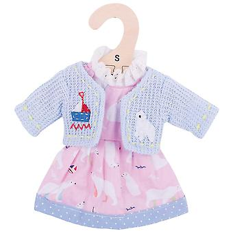 Bigjigs Toys Polar Bear Dress and Cardigan (28cm) Clothing Outfit Dress Up