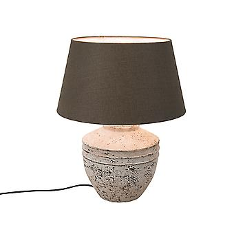 Light and Living Country Round Stone Table Lamp Grey with 50cm Brown Shade - Tamara