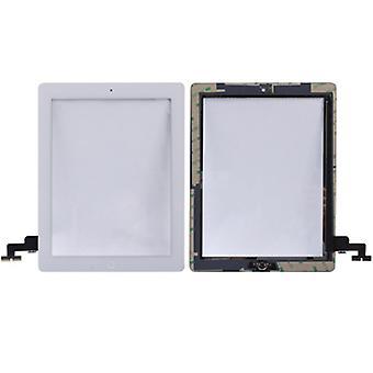 Touch scherm Home knop voor Apple iPad 2 + zelfklevende pad wit