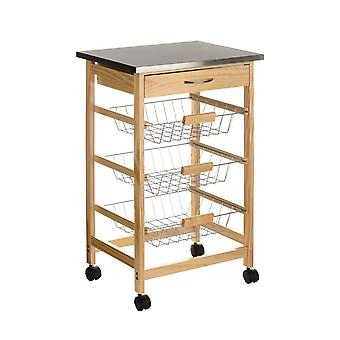 Pinewood Kitchen Trolley S Steel Top with 1 Drawer and 3 Wire Baskets
