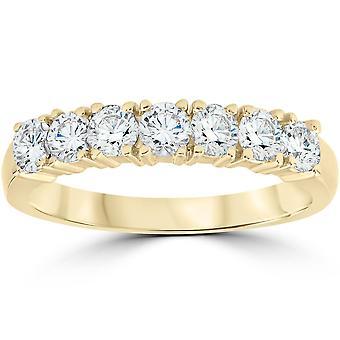 1ct Diamond trouwring verjaardag 14k geel gouden 7-Stone Womens Band