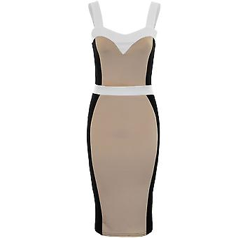 Ladies Celeb Jessica Strappy Slimming Effect Panel Knee Length Bodycon Dress