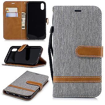 Apple iPhone XR Handy-Hülle Schutz-Tasche Case Cover Kartenfach Etui Wallet Grau