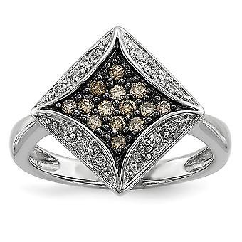 Sterling Silber Geschenk Box rhodinierten Champagner Diamanten und Diamant-Form-Ring - Ring-Größe: 6 bis 8