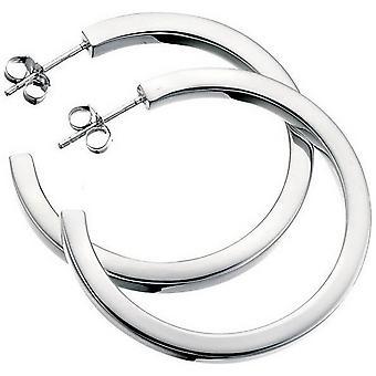 Begin vierkant gesneden grote Hoop Earrings Hoop Earrings - zilver