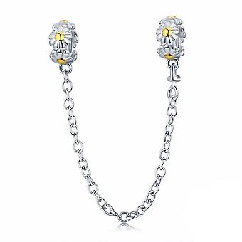 Sterling silver safety chain Daisy with golden dots