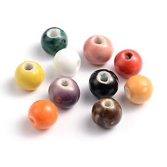 Packet 20 x Mixed Porcelain 9 x 11mm Glazed Plain Round Beads HA27275