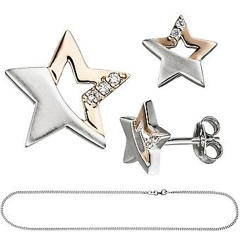 Children jewelry set star 925 Silver rose gold plated cubic zirconia necklace 38 cm