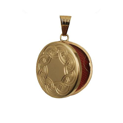 9ct Gold 23mm round flat Celtic hand engraved Locket