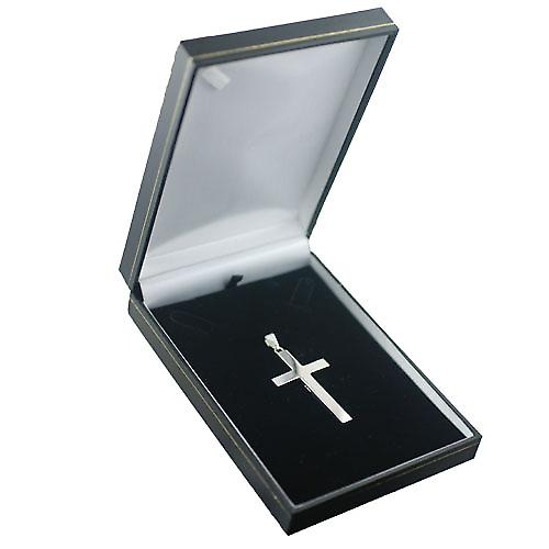 Silver 55x33mm plain solid block Cross with bail