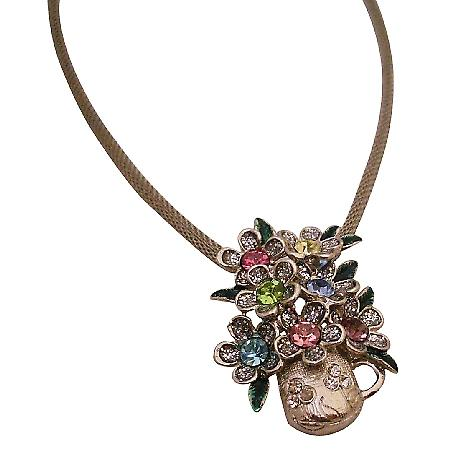 Multicolor Vase Pendant Necklace For School Girls