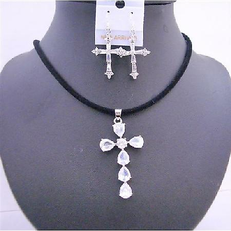 Clear Crystals Cross Pendant Black Chord w/ Cross Earrings Jewelry Set