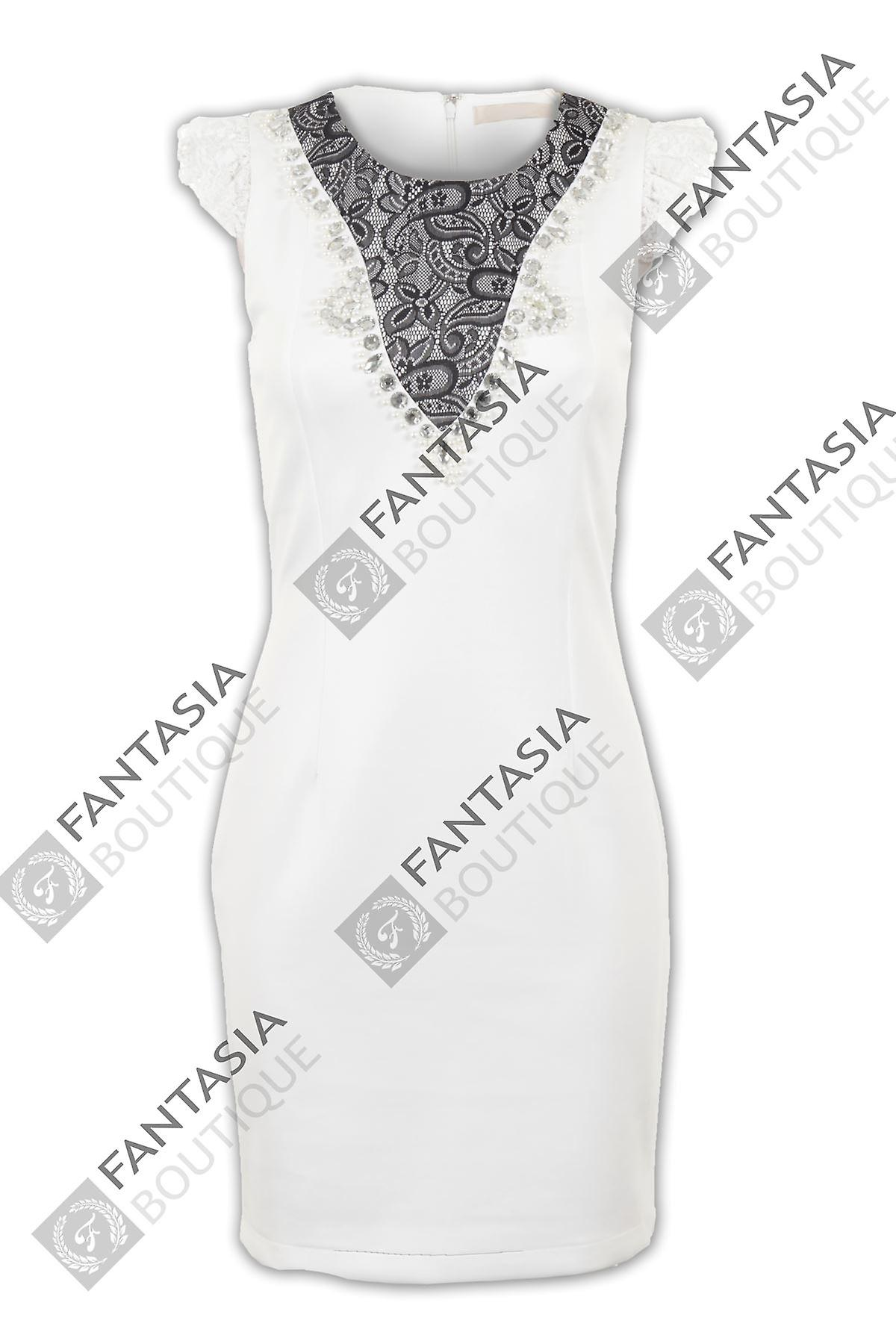 Ladies Cap Sleeve Lace Diamante Pearl Slim Stretch Bodycon Women's Short Dress